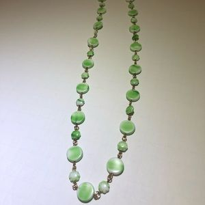 Vintage green glass circle beaded gold necklace